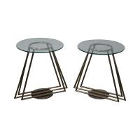 Mid-Century Chrome & Glass Side Tables - Pair | Chairish