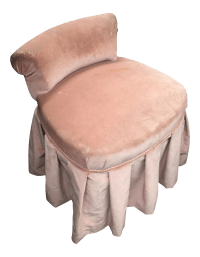 Petite Pink Velvet Skirted Vanity Chair | Chairish