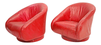 Mid Century Modern Red Leather Barrel Back Club Chairs - A ...