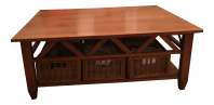 Solid Wood Ethan Allen Coffee Table   Chairish