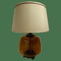 Transparent Amber Glass Table Lamp | Chairish