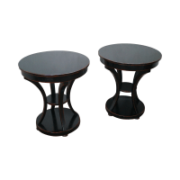 Distressed French Continental End Tables - Pair | Chairish