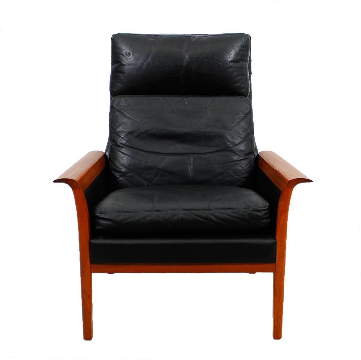 Danish Modern Leather Chair Hans Olsen Danish Modern Leather And Teak Lounge Chair