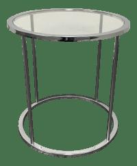 Mid-Century Round Chrome & Glass Side Table | Chairish