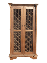 Teak Wood Rustic Spanish Style Wine Rack Cabinet | Chairish