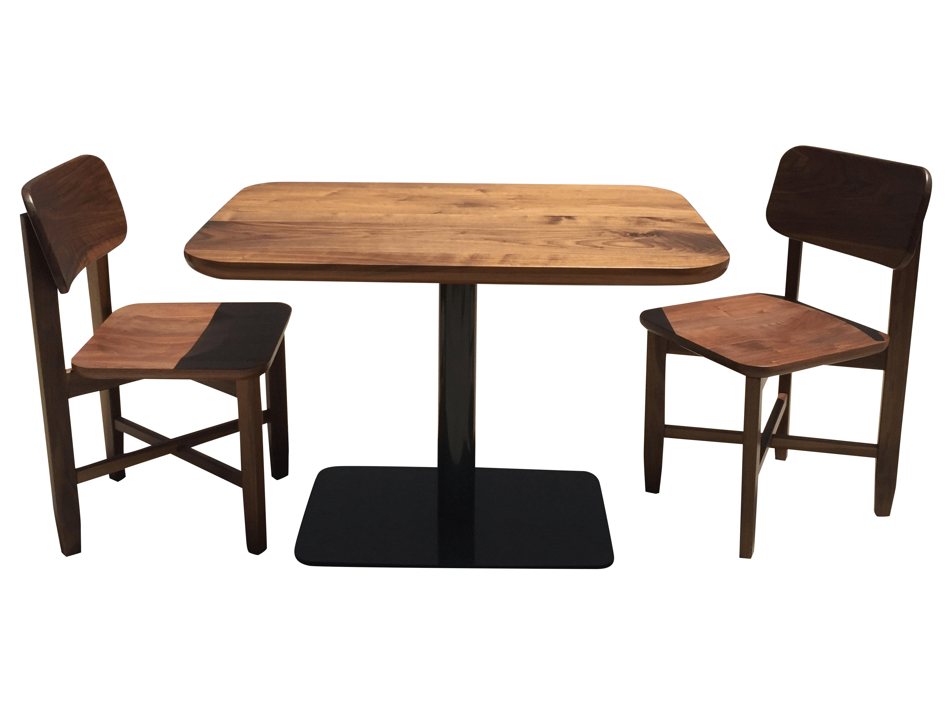 Cafe Tables Small Walnut Cafe Table And Two Chairs Handcrafted Chairish