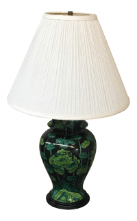 Hand Painted Black & Green Ginger Jar Table Lamp | Chairish