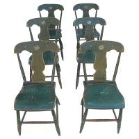 Antique Painted Pennsylvania Plank Chairs - S/6 | Chairish