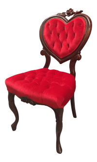 Vintage Red Heart Back Chair | Chairish