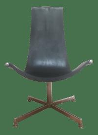 Mid-Century Leather & Chrome Swivel Sling Chair | Chairish