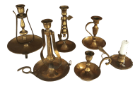 Nautical Brass Candle Holders - Set of 6 | Chairish