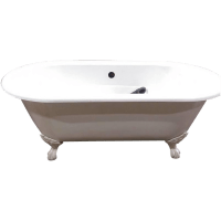 White Vintage Clawfoot Cast Iron Bathtub | Chairish