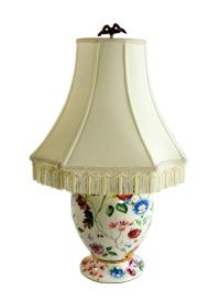 Colorful Floral Table Lamp With Fringe Shade | Chairish