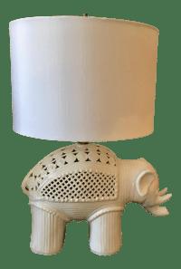 Italian Ceramic Elephant Table Lamp | Chairish