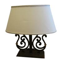 Dana Creath Iron & Brass Scrolled Table Lamp | Chairish