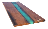 Canary Wood and Resin Live Edge Table Top | Chairish