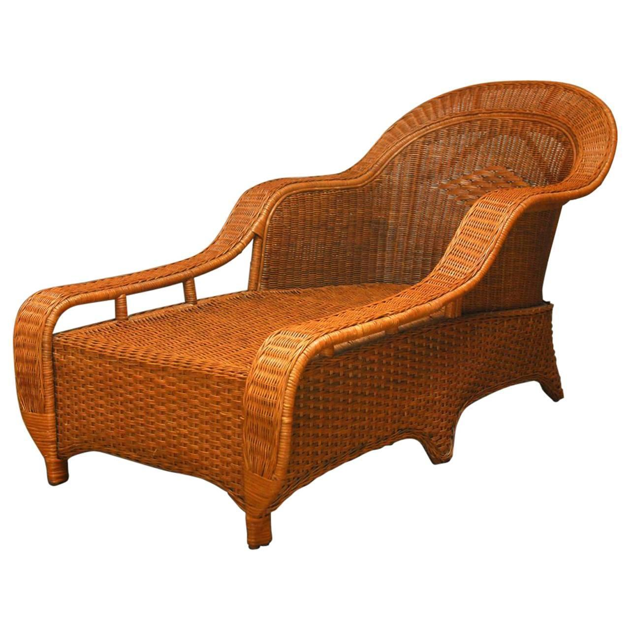 French Chaise Palecek French Style Wicker Chaise Lounge Chairish