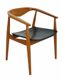 Danish Modern Teak Barrel Arm Chair | Chairish