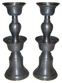 Chinese Pewter & Brass Oil Lamps - A Pair | Chairish