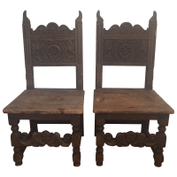 Spanish Revival Carved Wood Throne Chairs- A Pair | Chairish