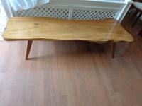 Mid Century Modern Acacia Wood Slab Coffee Table | Chairish