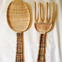 Jumbo Size Rattan Fork & Spoon Kitchen Wall Decor | Chairish