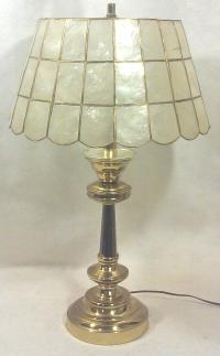 Brass Table Lamp with Capiz Shell Shade | Chairish