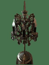 19th C. Rococo Iron & Smoke Crystal Table Lamp | Chairish