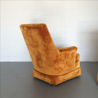 Mid Century Velvet Arm Chair | Chairish