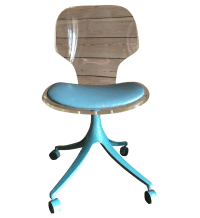 Vintage Lucite & Teal Desk Chair | Chairish