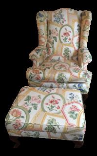 Ethan Allen Queen Anne Wing Chair & Ottoman | Chairish