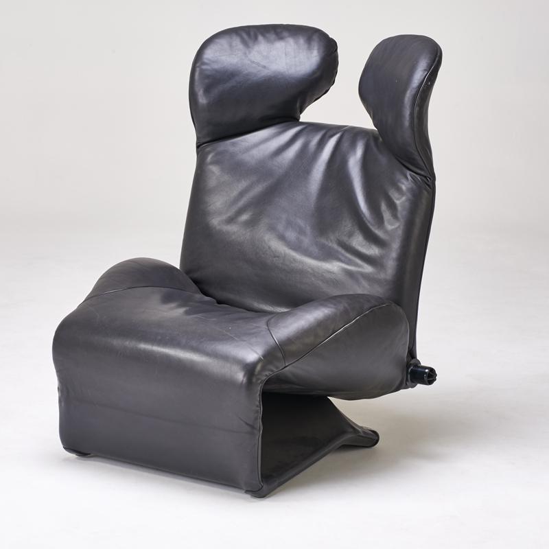 Black Leather Wink Chair Chairish