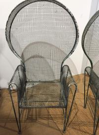 Mid Century Hooded Metal Mesh Garden Chairs - a Pair ...