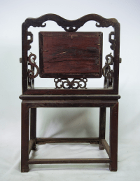 Antique Chinese Marble & Carved Rosewood Chair | Chairish