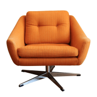 Orange Mid-Century Swivel Chair | Chairish