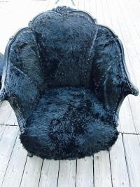 Reupholstered Antique Chair with Faux Fur | Chairish