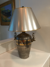 Vintage Chapman Deer Head Table Lamp