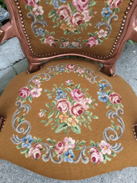Antique Needlepoint Fauteuil Arm Chair | Chairish