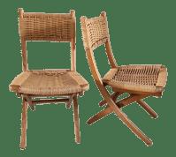 Mid-Century Yugoslavia Folding Rope Chairs - A Pair | Chairish
