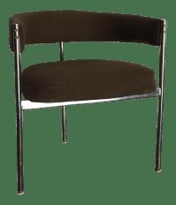 Mid-Century Milo Baughman Style Chrome Barrel Chair   Chairish