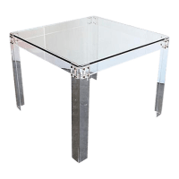 Mid-Century Lucite & Glass Dining Table | Chairish