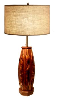 Mid-Century Teak & Tortoise Porcelain Table Lamp | Chairish