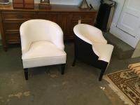 Mid-Century Modern White Barrel Chairs - A Pair | Chairish