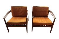 Dux Danish Modern Teak Barrel Back Chairs - a Pair | Chairish