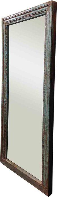 Turquoise Blue Framed Mirror | Chairish