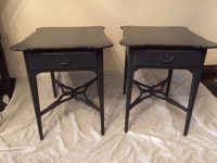 Distressed French-Style Gray End Tables - a Pair | Chairish