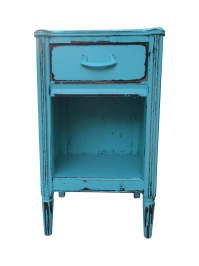 Shabby Chic Blue Nightstand | Chairish