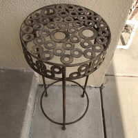 Modern Metal Patio Plant Stand | Chairish