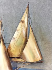 Mid Century Modern Gold Curtis Jere Signed Sailboat Wall ...