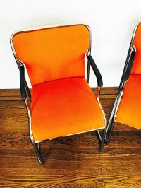 Mid Century Orange & Chrome Side Chairs - Pair | Chairish